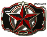 Nautical Star Belt Buckle Red/Black + display stand. Code MM2